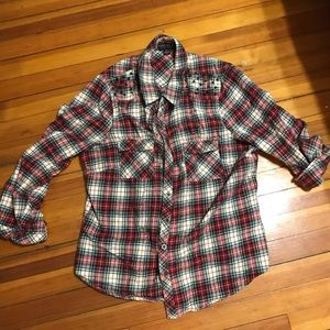 Forever 21 plus red flannel w stud detail